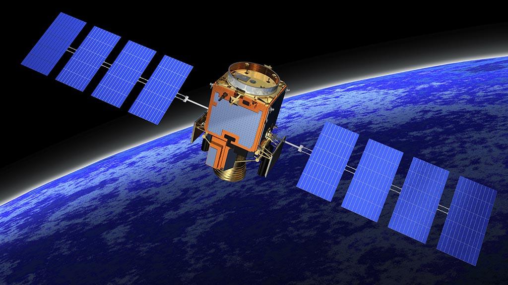 یک ماهواره و صفحات خورشیدی آن