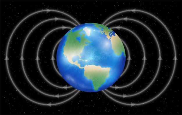 خطوط میدان مغناطیسی زمین که نشان دهنده جهت میدان از قطب جنوب جغرافیایی زمین به قطب شمال جغرافیایی آن است